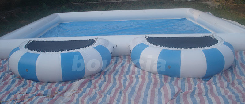 0.9mm  PVC Tarpaulin Round Outdoor Inflatable Swimming Pool With Platform