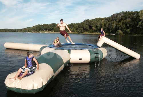 0.9mm PVC Inflatable Water Trampoline Combo With Water Slide