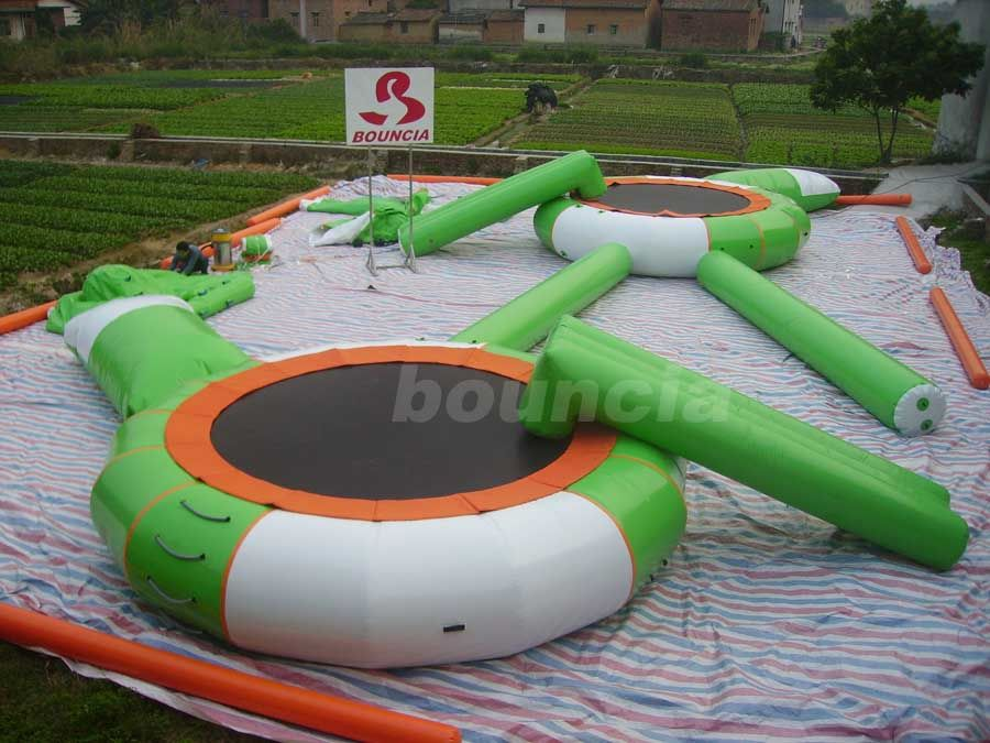 0.9mm PVC Tarpaulin Inflatable Water Trampoline Combo For Water Park
