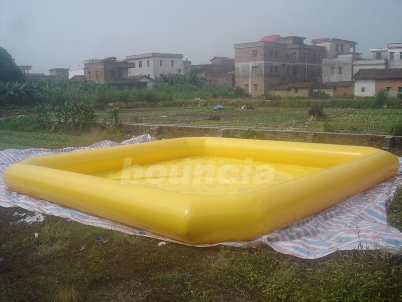 Yellow Color Outdoor Inflatable Water Pool With Reinforcement Strips