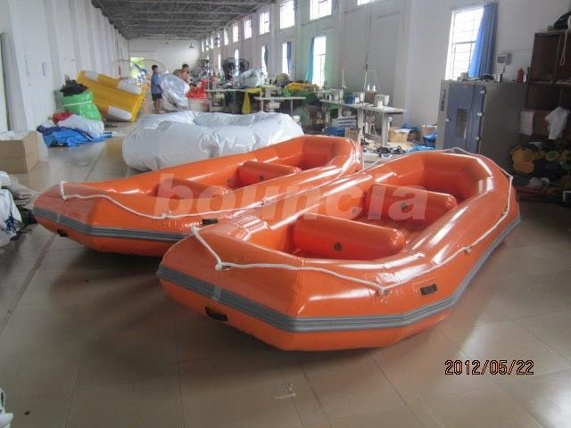 Orange PVC Tarpaulin Fabric Rafting Boat  With Reinforced Strips For White Water